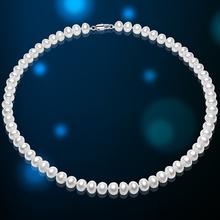 Brand Genuine Freshwater Pearl Jewelry Necklace 6-7mm White Freshwater Pearl Choker Necklaces For Women Fine Jewelry By FEIGE(China (Mainland))