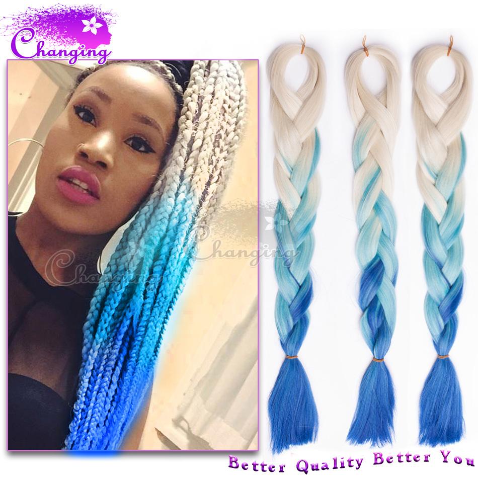 10pcs Ombre Kanekalon Braiding Hair Blonde Blue Kanekalon