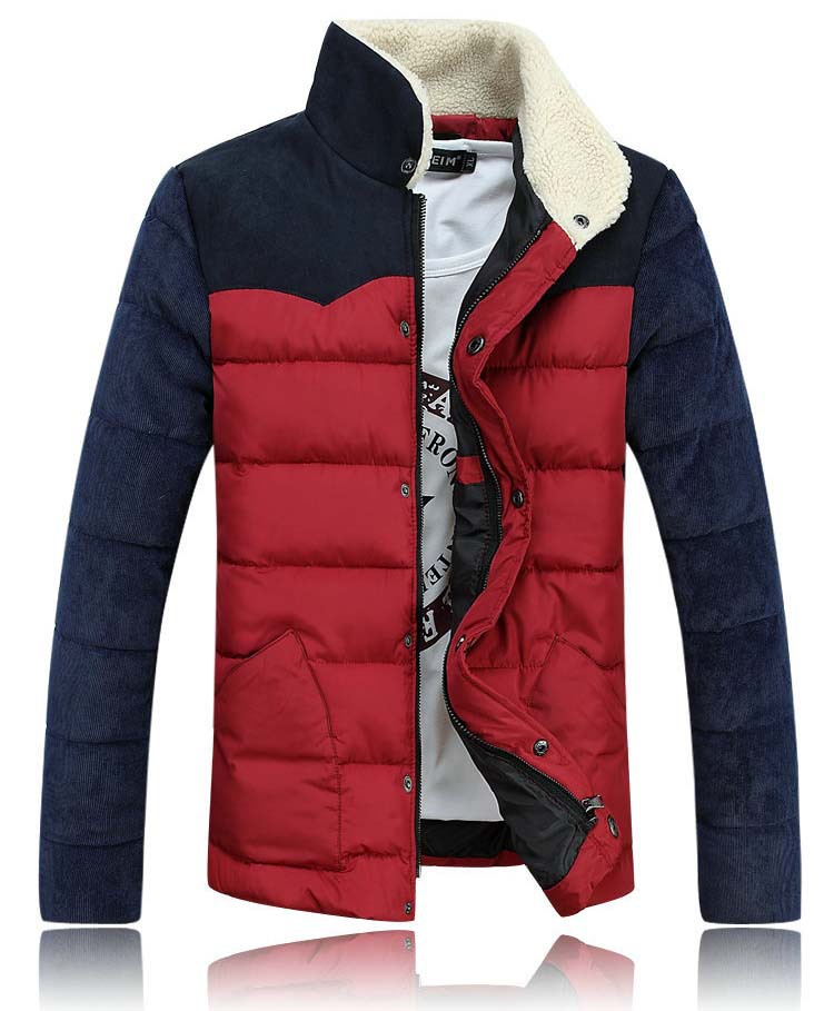 2015 Fashion New Style Winter Men's Slim Cotton Jacket Coat Lamb Wool Stand Collar Jacket Patchwork Outerwear Coat 8M02138