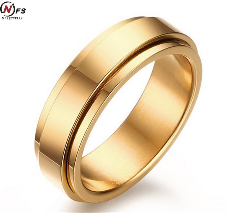 18K Gold Plated Tungsten 6MM Rotatable Stainless Steel Rings Lovers Pinky Ring Fashion Tungsten Carbide Ring For Men(China (Mainland))