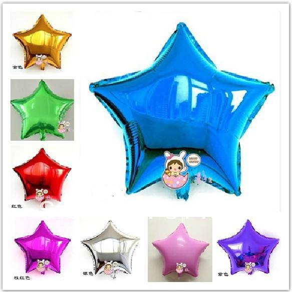 1 18'' Star-Shape Aluminum Foil Metallic Balloons Helium,Mylar Toys Kids, Colors Mixed - F Love Store(Minimum order $15 store)