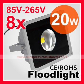 8pcs/lot Gather Light Shell Grey 20W LED Flood Light IP65 Waterproof 85-265V 10W 20W 30W 50W High Power Outdoor Floodlight Lamp