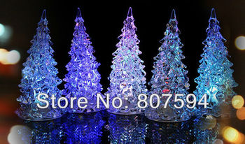, LED night light, Halloween gifts, LED glass crystal Christmas tree night lamp, seven color changing 11pcs/lot