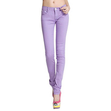 2016 New Women Sexy Candy Colors Pencil Pants Slim Fit Skinny Stretch Jeans Trousers Hot W099