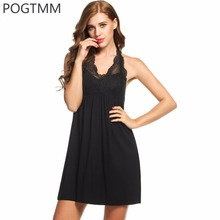 Buy POGTMM Summer Women Modal Sleepwear Sleeveless V-Neck Sexy Nightgown Female Lace Nightdress Home Dress Night Shirt Bathrobe L3 for $13.82 in AliExpress store