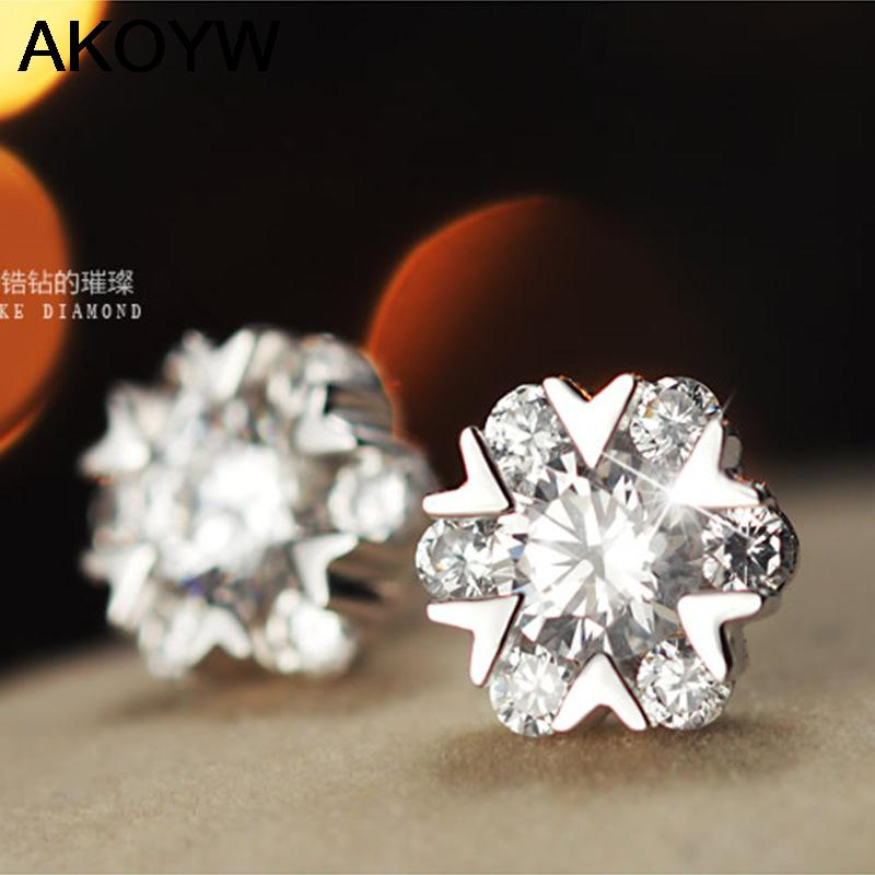 S925 sterling silver snowflake earrings genuine female models Crystal Hoop upscale womens fashion jewelry accessories<br><br>Aliexpress