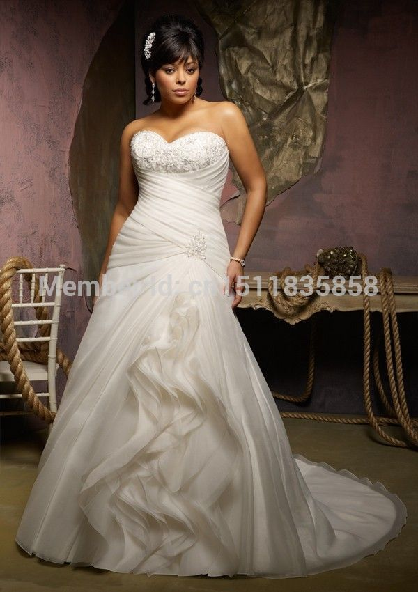 Ivory organza sweetheart wedding dress plus size bridal for Plus size wedding dresses for cheap