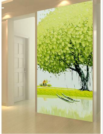 Free shopping 2014 New Non-woven Romantic and fresh hand draw three-dimensional painting the porch background wallpaper(China (Mainland))