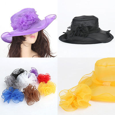 Elegant Women's Church Hat Wedding Kentucky Derby Wide Brim Sun Beach Flower Hat(China (Mainland))