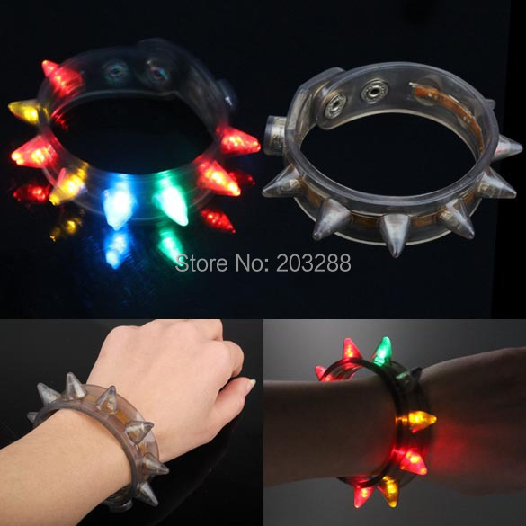 Glow Funny Eight Lamp Bracelet Fluorescent Color Changing For Party Flash LED Free Shipping(China (Mainland))