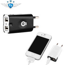 Dual USB 2 Port Wall Charger EU Plug For iPhone 4S 5S for iPad 4 Mini for SAMSUNG S4 S3 for HTC One Nexus 4 Free Shipping Black(China (Mainland))