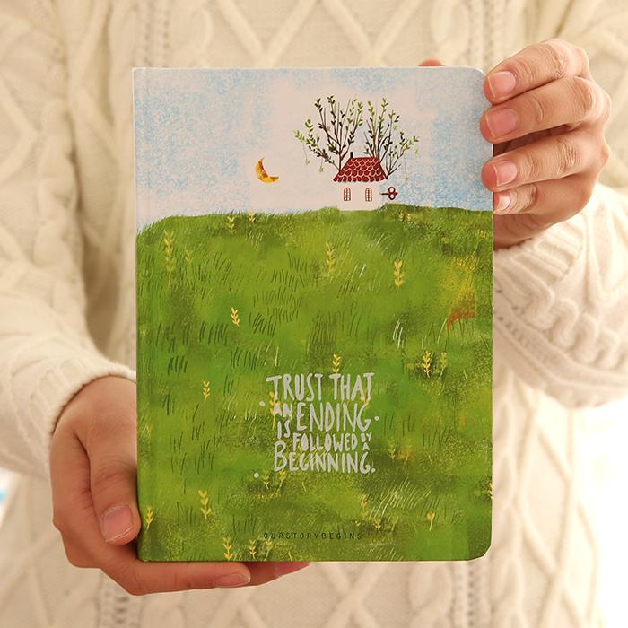 Cute Korea Stationery blank sketchbook dairy notebook hardcover vintage notebook