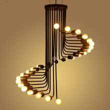 Buy Chandelier American creative retro loft industrial wind personality lighting helix cafe restaurant bar stairs stairs CL for $139.00 in AliExpress store