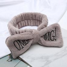 """Nueva letra """"OMG"""" franela suave moño diademas para mujeres chicas turbante lindo soporte para el cabello bandas para el cabello diadema para la cabeza accesorios para el cabello(China)"""