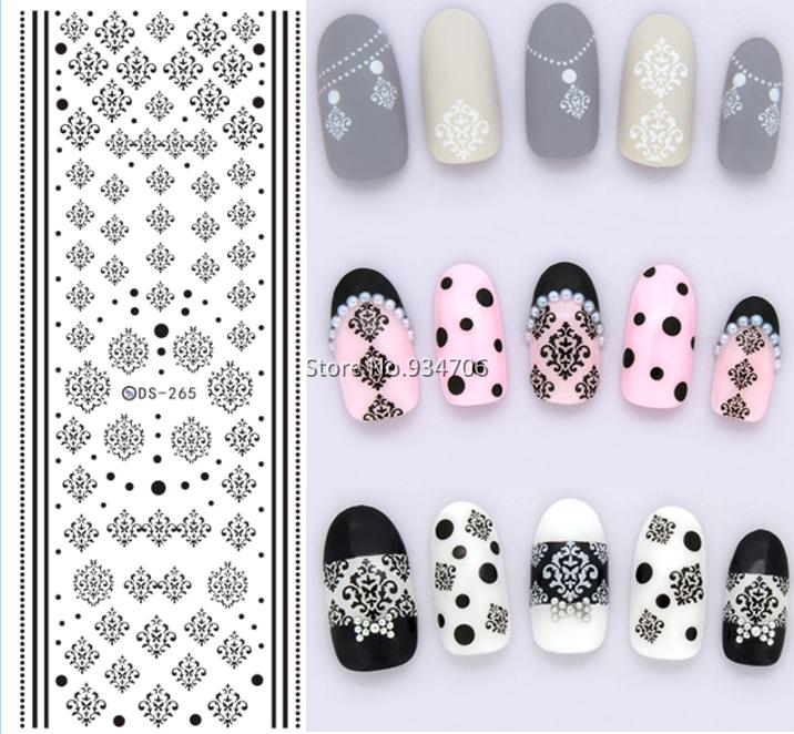 DS265 Design Water Transfer Nails Art Sticker Winter Style Black Snowflake Nail Wraps Sticker Watermark Fingernails Decals(China (Mainland))
