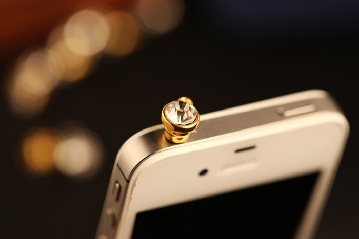 Luxury Rhinestone Mobile Phone Dust Plug Crystal Diamond Earphone Dustproof Plug 3.5mm Universal For Mobile Phone /iPhone FY07