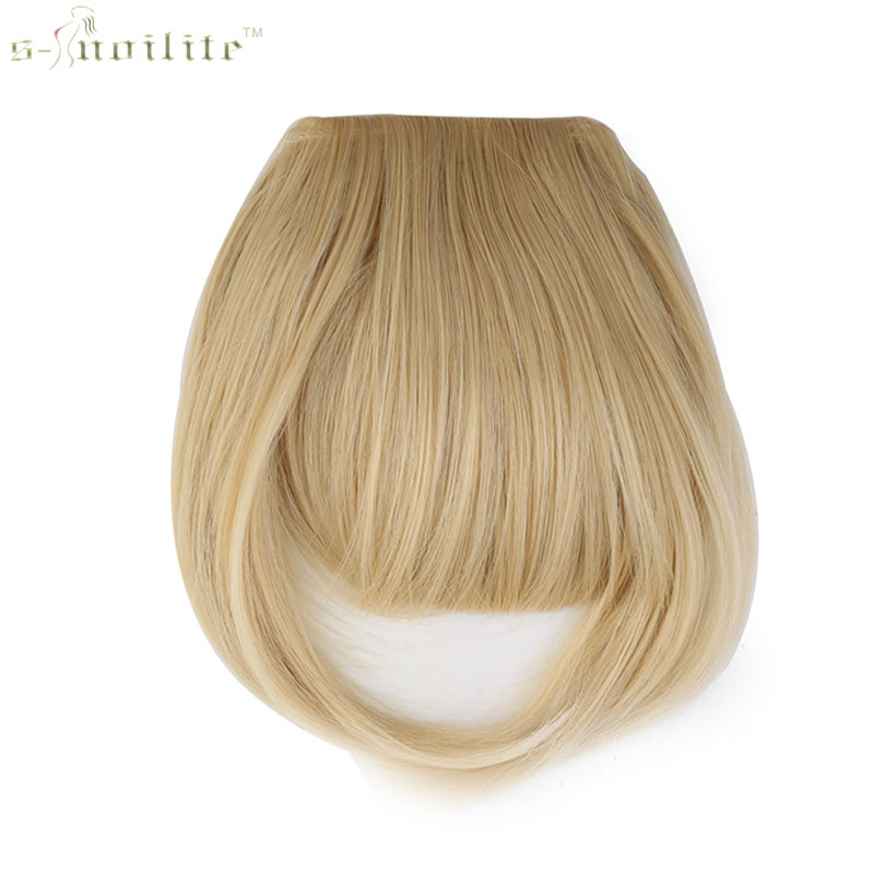 SNOILITE Women Synthetic Clip In Bangs Fringe Hair Extensions Front on Brown Black Blonde One piece only(China (Mainland))