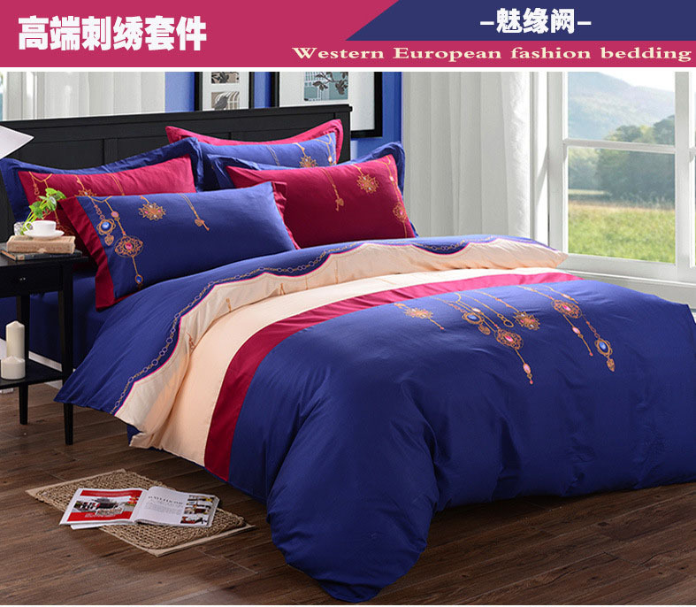 High quality embroidered 4pcs bedding set solid color 100% cotton western European fashion bedding blue bed set quilt cover 5094(China (Mainland))
