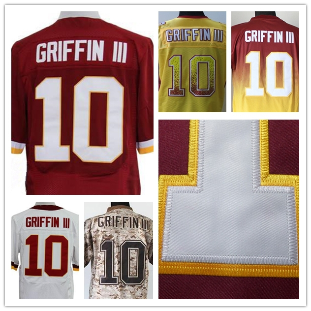 Washington #10 Robert Griffin III Jersey Cheap Authentic Sports Shirts Men's Elite Stitched American Football Jersey Red White(China (Mainland))
