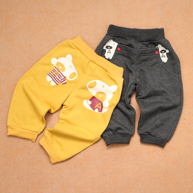 Button dog spring infant boy trousers male female child openable-crotch 100% cotton knitted pants casual trousers