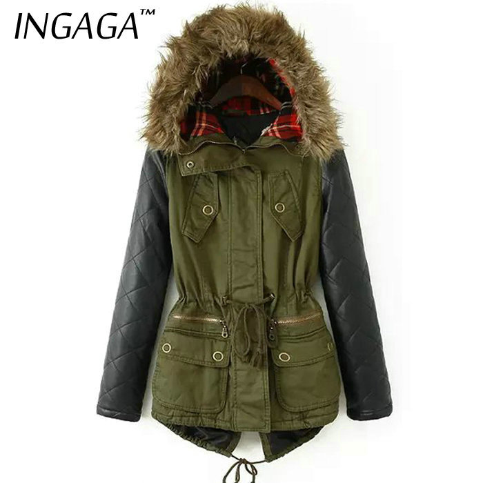 INGAGA Brand New S-5XL 2015 Clothing Winter Women Parka Casual Army Green Contrast PU Leather Faux Fur Hooded Female Coat(China (Mainland))