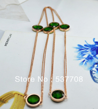 Free shipping Green Elegant Necklace Rose Gold Plated Fashion Jewelry Nickel Free Pendant Austria Crystal Dody Chain Necklace(China (Mainland))