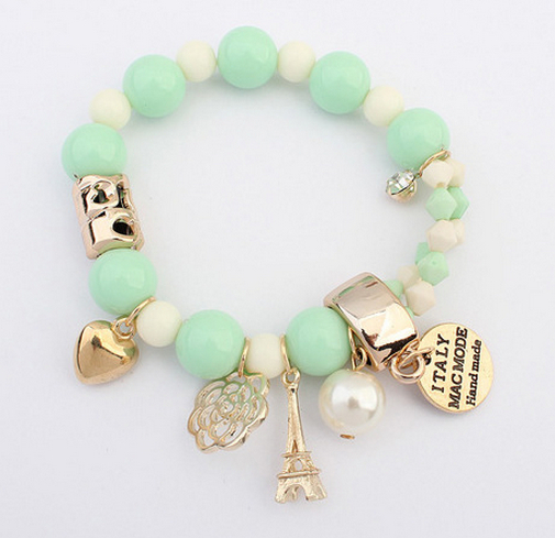 7 Colors 2015 New Brand Fashion Temperament Charm Crystal Gem Pearl Beads Hearts Elastic Force Bracelet For Women Jewelry B186(China (Mainland))