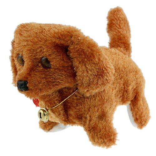 FS Hot Cute Brown Plush Neck Bell Walking Barking Electronic Dog Toy Gift Child Kids(China (Mainland))
