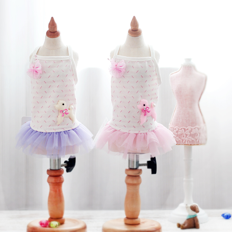 15ZF14 Fafa Pet Products Pet Clothes Apparel Dog Dress Dog T-shirt Puppy Skirt With Lace Sweety Very Cute 1PC(China (Mainland))