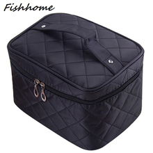 Cosmetic box 2017 new female Quilted professional cosmetic bag women's large capacity storage handbag travel toiletry makeup bag(China (Mainland))
