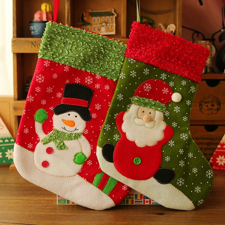 1pc Christmas Stockings Enfeites De Natal Hand Making Crafts Children Candy Gift Bag Santa Bag Elk The Old Man Snowman GYH(China (Mainland))