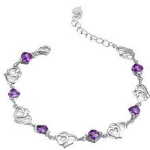 Silver Plated  Purple Crystal Rhinestones Double Heart-shaped Women Bracelet Charming Jewelry(China (Mainland))
