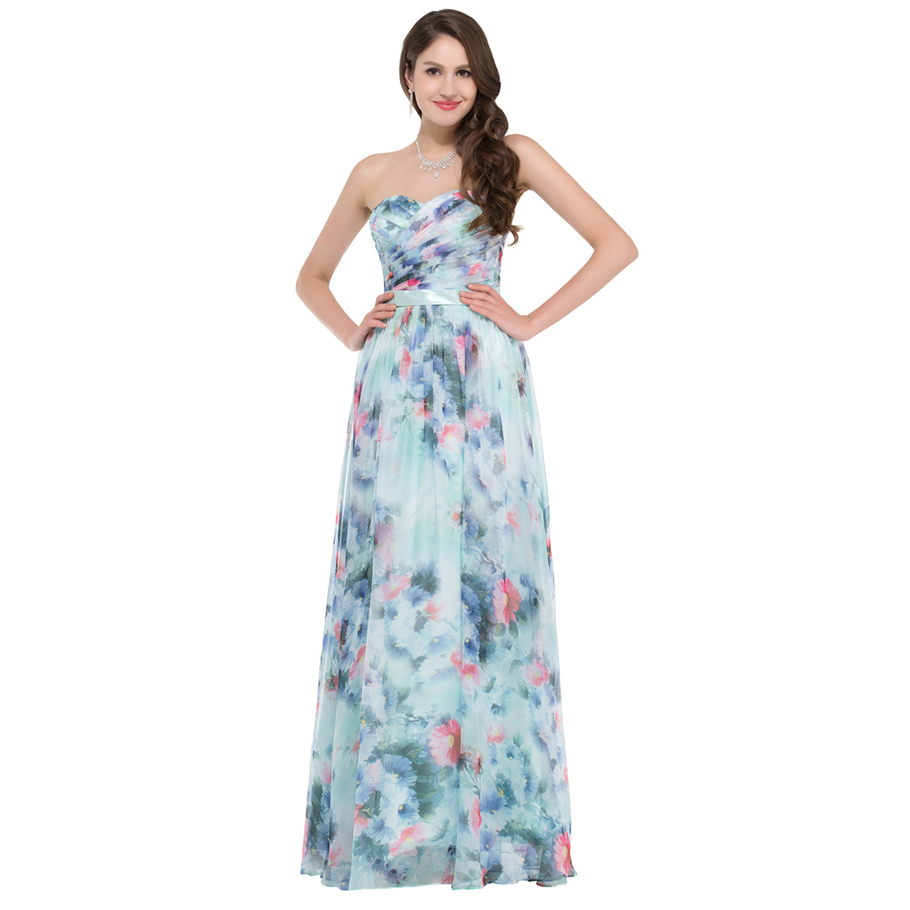 Grace karin elegant flower pattern floral print evening for Floral print dresses for weddings