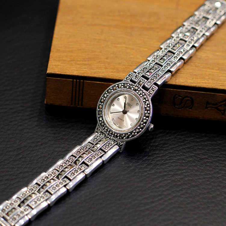 New Limited Edition Classic Elegant S925 Silver Pure Thai Silver Bracelet Watches Thailand Process Rhinestone Bussiness Watch(China (Mainland))