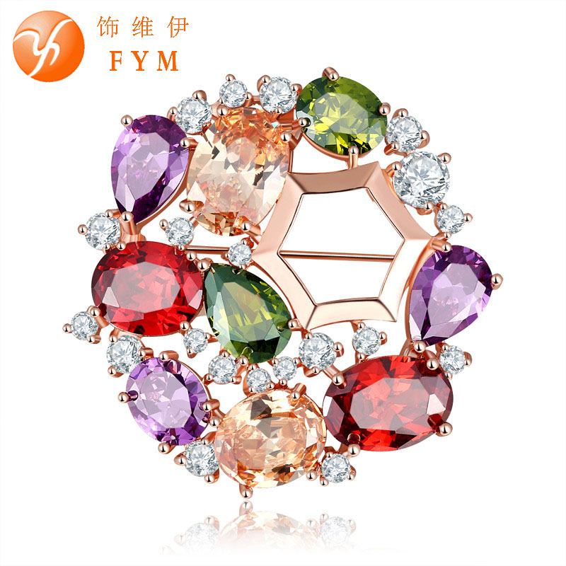 2016 New Fashion Summer Brooch for Girl Round Cubic Zircon Scarf Lapel Pins Brooches for Women Jewelry Accessories BJ0002(China (Mainland))