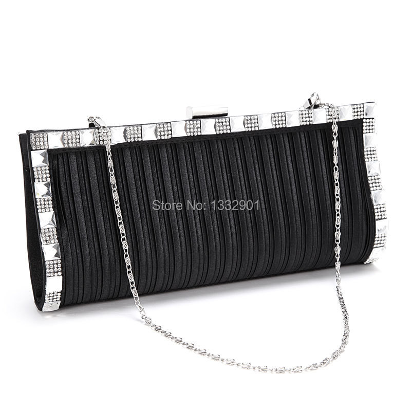 Shiny Crystal Embellished Pleated Stripes Clip Frame Satin Clutch Evening Bag(China (Mainland))