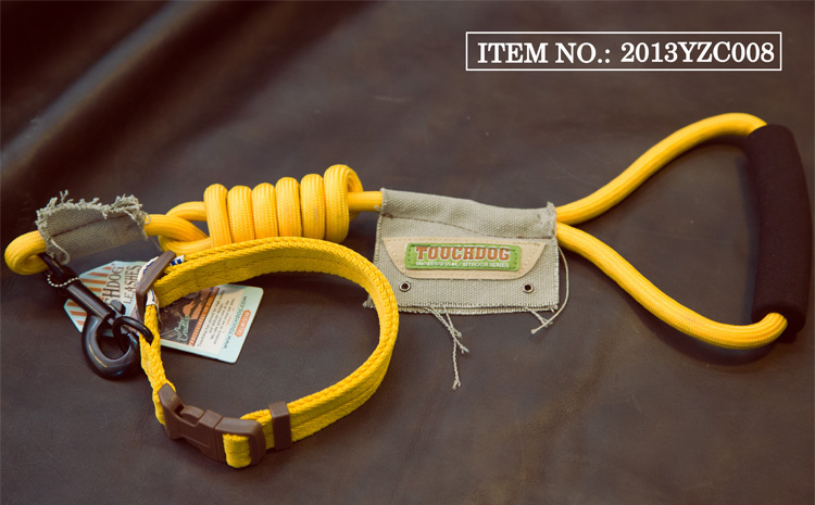 Free shipping 12 colors rock climbing series adjustable nylon strong and durable dog collar+leash pet outdoor products yellow(China (Mainland))