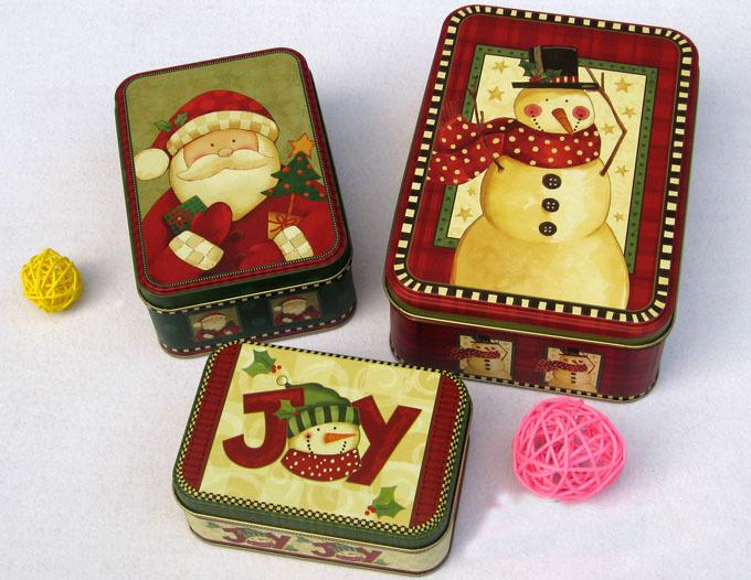 3pcs/set Christmas Style Tin Box Jewelry storage Case(China (Mainland))