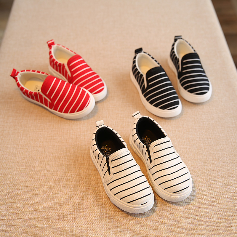 Canvas kids shoes 2016 New Spring stripe Children shoes for boys flat children sport shoes schoenen led kinderen size 21-36