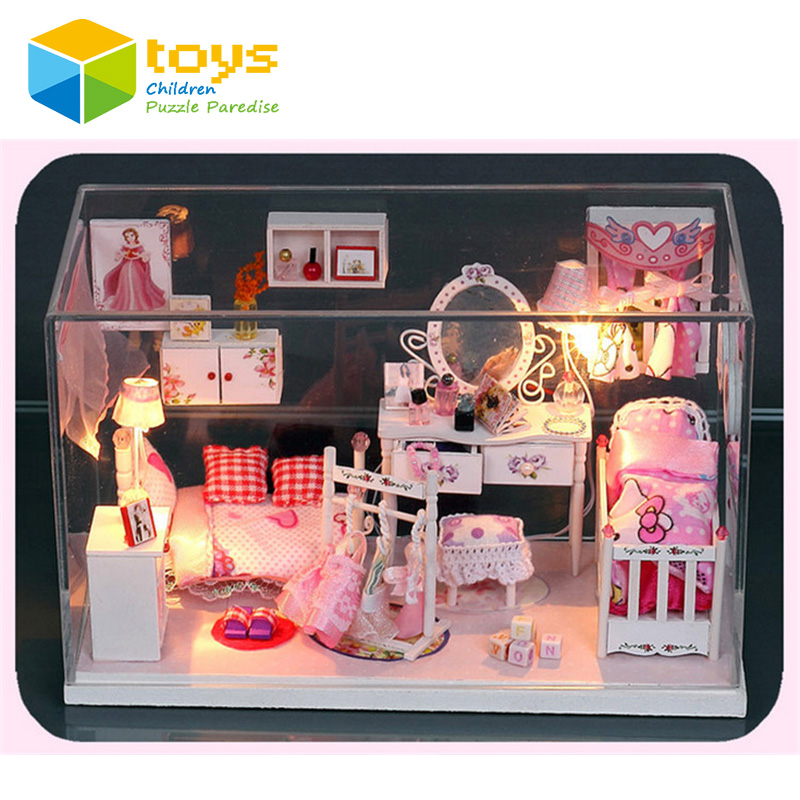 Miniature DIY Wooden Doll House Handmade Pink Princess Dollhouse Cute Furniture Toys for Girls Glass Box With LED Lights Gift(China (Mainland))