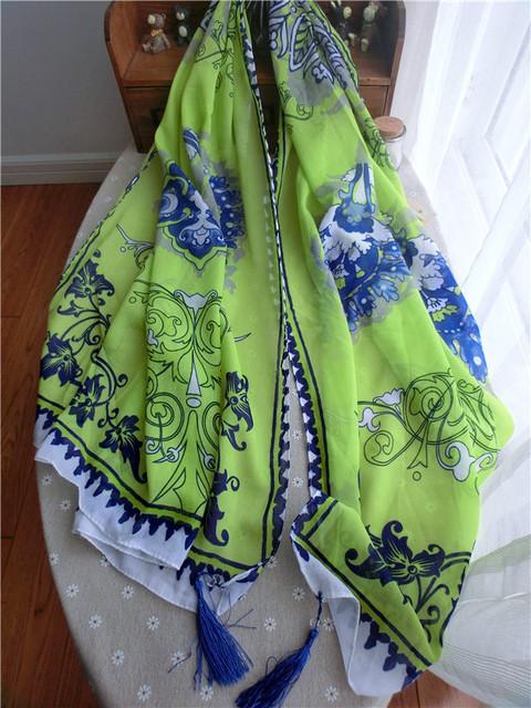 Новое поступление женщин шарф древний зеленый китай стильный пашмины дамы песчаный пляж обертывания 180 * 100 см