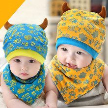 Baby Beanie Cap Set with Bandana Bib Monsters Design Hat Head Scarf Boy Girl Kids Toddler Clothing Accessories Knit Caps