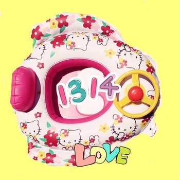 Free shipping,Hello Kitty baby safe swim ring with sound,Inflatable swimming ring,cartoom swim ring,baby boat
