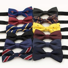 1 Piece Fashion Brand Bow Ties For Men Wedding Polyester butterfly Striped Dots Plaid Bowtie 12colors(China (Mainland))