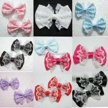 10Pcs organza satin ribbon Bow Appliques Craft DIY Wedding  A01