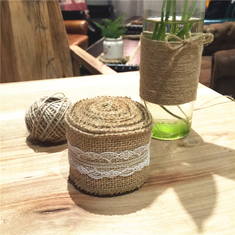 3 Meter Rural Linen Ribbon Wedding Decorative Accessories Natural Jute Burlap Roll for Table Runner Tablecloth(China (Mainland))