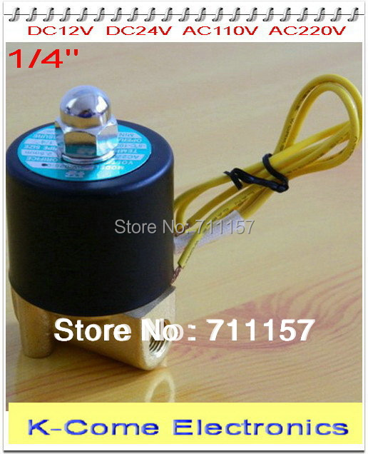 "1/4"" 2 Way 2 Position N/C Electric Solenoid Valve Water Air Gas, 2w025-08 DC 12V 24V AC 110V 220V(China (Mainland))"