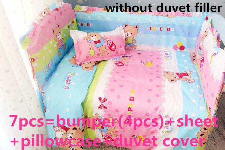 Promotion! 6PCS Hello Kitty Baby bedding set cribs for baby bed linen crib bedding jogo de cama (bumper+sheet+pillow cover)<br><br>Aliexpress