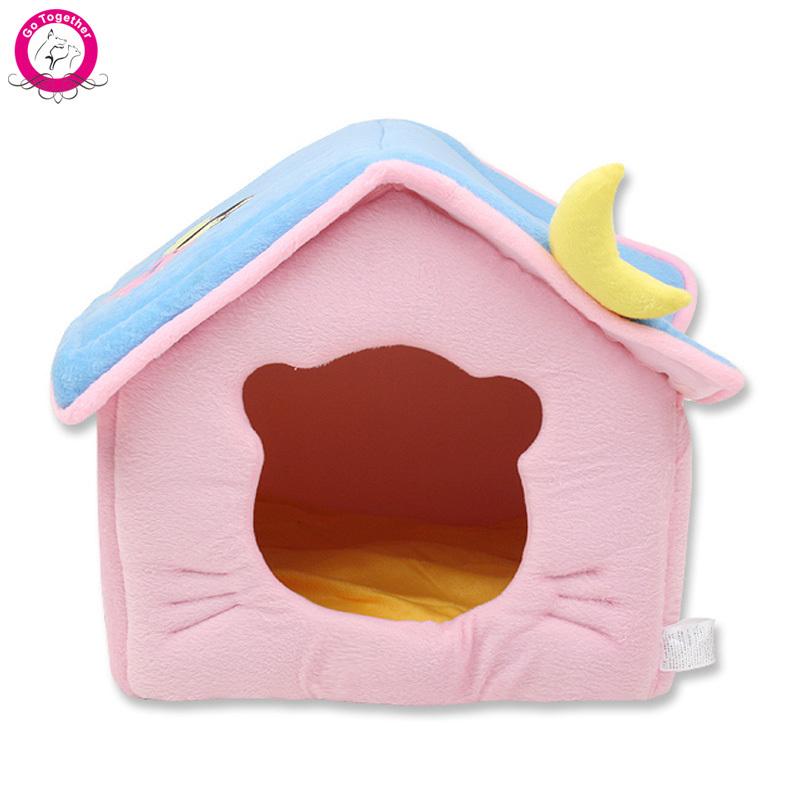 [해외]귀여운 달 애완 동물 개 하우스 부드러운 양털 겨울은 따뜻한..