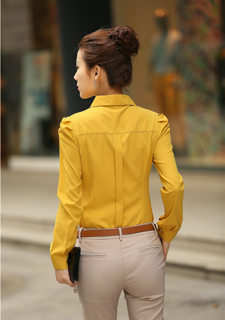 Women Blouses 2015 Summer White Red Yellow Blouses Office